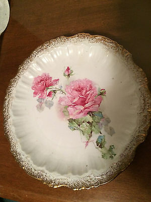 Sevres China - Pink Rose Plate -Scalloped Edge