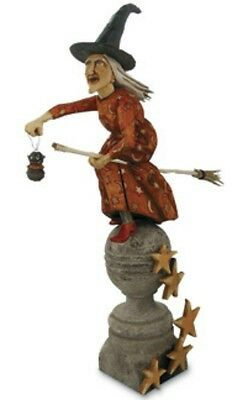"""Bethany Lowe HALLOWEEN 19 1/2""""Hand-Carved GERTIE On BROOM WITCH~Anthony Costanza"""