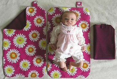HAND MADE BABY TRAVEL CHANGING MAT - Dark Cerise / Plum with Large Flowers