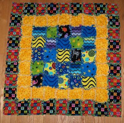 """BABY GENIUS Fabric Rag Quilt Baby GENIUSES Blanket 34"""" x 34"""" cotton and flannel"""