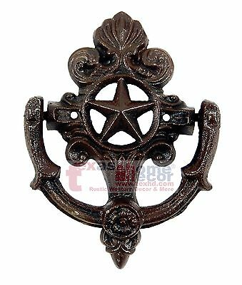 Fleur De Lis Star Door Knocker Cast Iron Rustic Western Decor French Ornate