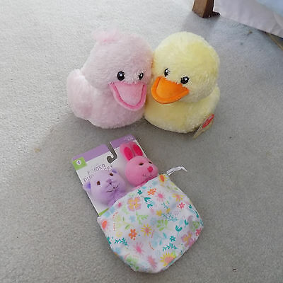 Lot Easter Plush Aurora Pink & Yellow Kissing sound Ducks & Bunny finger puppets