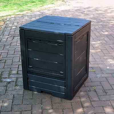Garden Composter Composting Box Black Weatherproof Twin Opening Hinged Lid
