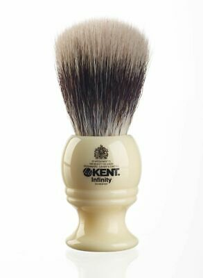 Kent Mens INF1 Infinity Synthetic Silvertex Fibre Bristle Ivory Shaving Brush