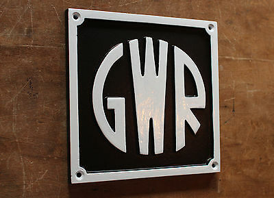 "VINTAGE RAILWAY ""GWR"" SOLID CAST SIGN TRAIN OLD ANTIQUE 1930s ART DECO RAIL-05bl"