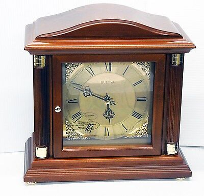 Bulova  Mantel Clock -The Bramley-In Walnut Finish With Harmonic Chimes B1843
