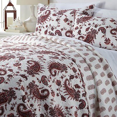 India Hicks Lady Louis 3-piece Quilt Set Red King New Free Shipping 2