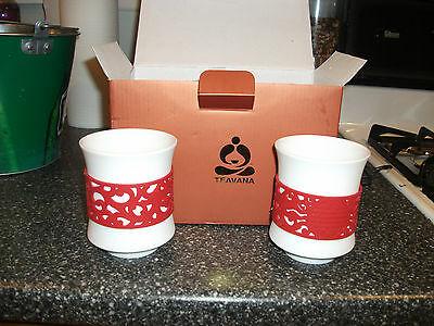 New Teavana Red Dragon porcelain  tea cup set white cups with silicone sleeves