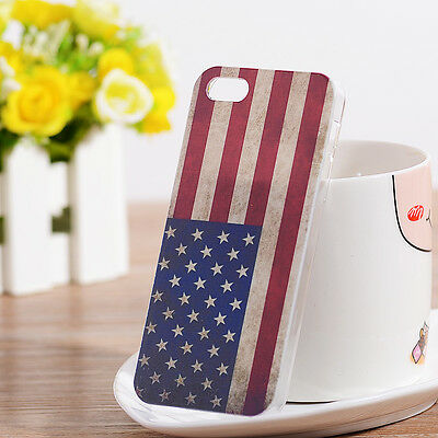 1Pcs Free shipping NEW Retro Fashion US Flag Hard Case Cover for iPhone 5 5SC
