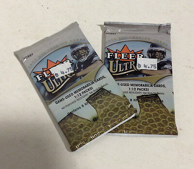 Set 2 of Factory Sealed Packs from a Fleer Ultra 2004 NFL Trading Card Hobby Box