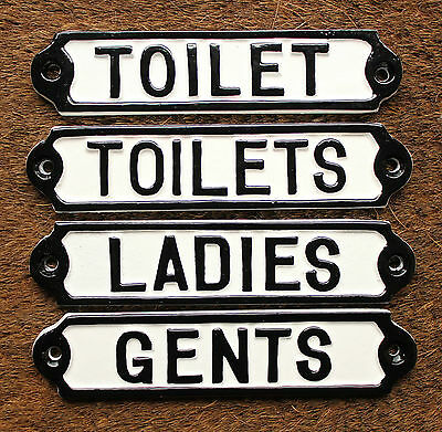 Toilets/Ladies/Gents Toilet Signs Vintage Antique Shabby Cast Iron White Style