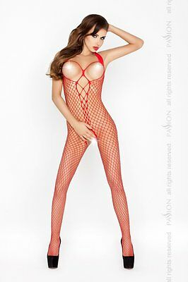 "Bodystocking ""BS014"" Damen-Body Catsuit ouvert Netz-Damenbody in rot von Passion"