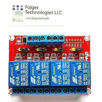 SRD-12VDC-SL-C 4 Channel DC12V High/Low Level Power Relay Module Board
