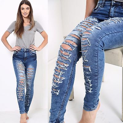 Womens High Waisted Stretchy Skinny Tube Jeans Ladies Jeggings Pant 6 8 10 12 14