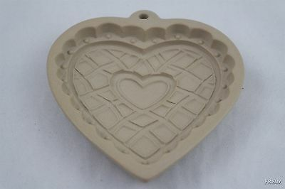 Heart Shaped 1997 Wilton Stoneware Cookie Mold Form Cutter Press