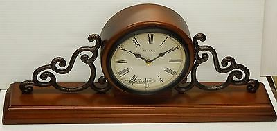 "Bulova -""Strathburn' Small Traditional Wooden  Mantel Clock   B1910"