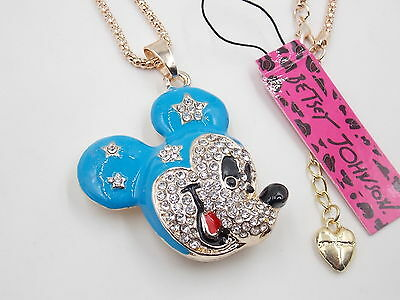 Free shipping! New Betsey Johnson Mickey blue crystal necklace # N010