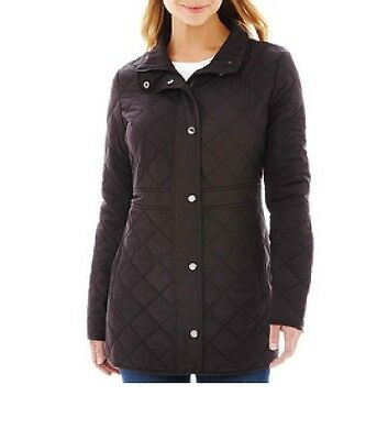 Liz Claiborne Jacket Quilted Coat black polyester lightweight womens size XL NEW