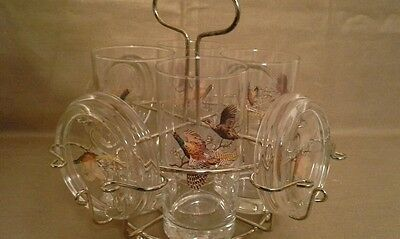 Set of 4 Mid Century Glasses with Solid Matching Glass Coasters and Carrier