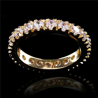 Sz7 Nice Circle White Sapphire Women's 14KT Yellow Gold Filled Engagement Ring