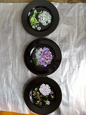 Tiffany & Co.Mrs. Delany's Flowers 3 Dessert Plates by Sybil Connolly Black