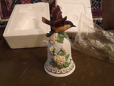 Heritage House Musical Bell -Greensleeves Bird Ornament New