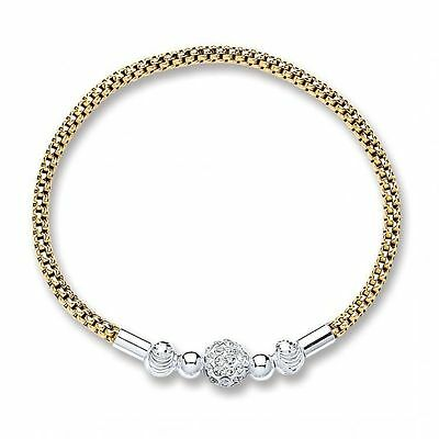 *NEW* Beautiful Gold Plated 925 Sterling Silver Glitter Ball Bracelet