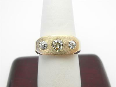 Vintage Antique Men's 1.13ct Old European Mine Cut Diamond Gypsy Ring 14k Gold