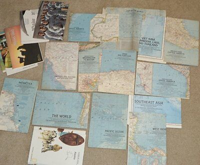 BIG LOT OF 21 NATIONAL GEOGRAPHIC MAPS 1961-76 The World, Vietnam, Africa +
