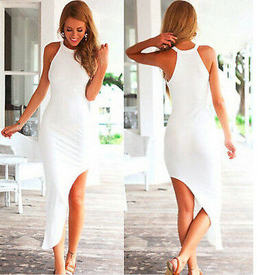 Summer Fashion Sexy Asymmetrical Hem Straps White Clubwear Party Womens Dress