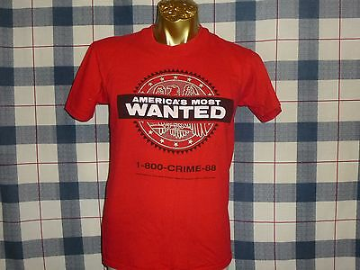 BOSS!! vintage 80s AMERICA'S MOST WANTED TV SHOW JOHN WALSH RED t shirt MEDIUM