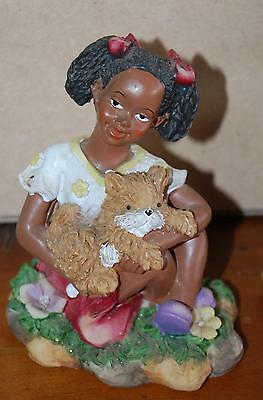 Delightful Little BLACK GIRL Playing with Kitty Cat African American Figurine