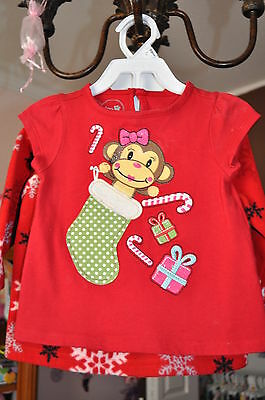Baby Girl Holiday Top Monkey Candy Cane Size18 Months WINTER Wear!