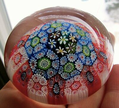 Vintage Murano Paperweight Tightly Packed Red Blue Green Daisy Millefiori Floral