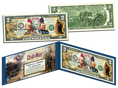 USA CIVIL WAR *150 th ANNIVERSARY* COLORIZED $ 2 * IN LEATHER CURRENCY HOLDER