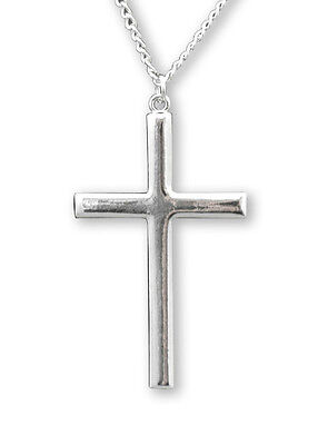 Polished Silver Finish Cross Medieval Renaissance Pewter Pendant Necklace NK-24