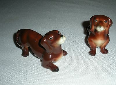 Vintage Pair E&R Germany Golden Crown DACHSHUNDS Dog Figurine