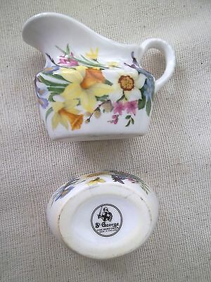 St George Floral Fine Bone China Cream and Sugar Dish Made in England