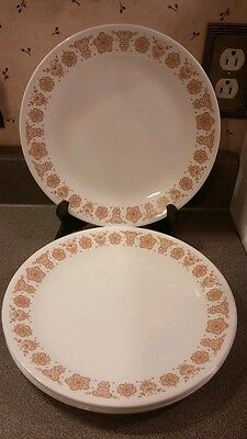"""Corning Corelle Butterfly Gold Lot of Five (6) 10 1/4"""" Dinner Plates"""