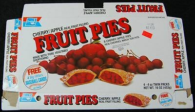 [ 1980s Drake's FRUIT PIES Box - Vintage Food Packaging - Kirby Puckett ]