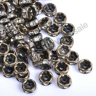 100Pcs BRONZE Czech Crystal Rhinestone Rondelle Spacer Beads 4MM 5MM 6MM 7MM 8MM
