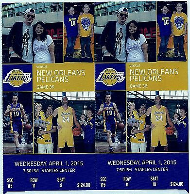 2 TICKETS LOS ANGELES LAKERS vs NEW ORLEANS PELICANS 4/1/2015 Section 115 row 11