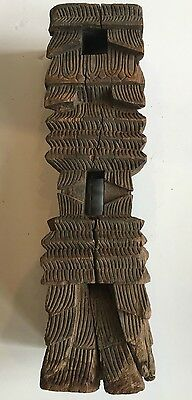 1 Antique Carved Wooden Votive Towers With Base For Oil Lamp 19Th Century India