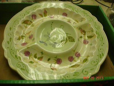 "TRACY PORTER EVELYN -3 PART RELISH DISH- 10"" PLATE- HAND PAINTED-VERY PRETTY"