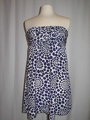 Alice and Olivia Strapless with blue multi sized dots Retail: $190, NEW
