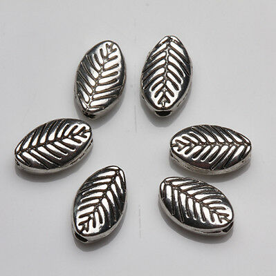 25Pcs Retro Tibet Silver Very Nice Double Sided Leaf Beads Spacer Beads 10X6mm