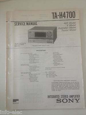 Schema SONY - Service Manual Integrated Stereo Amplifier TA-H4700 TAH4700