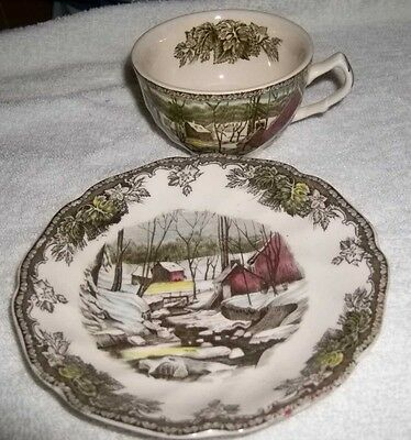 vintage the Ice house-the friendly village1 cups & saucer-by johnson brothers
