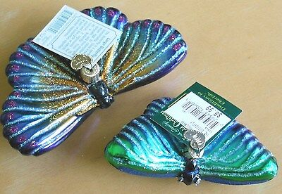 Lot of 2 Butterfly Blown Glass Ornaments Old World Christmas LOVELY GIFT Monarch