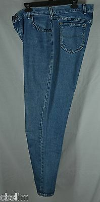 Lee 18 L Long Blue Wash Denim Jeans Straight Tapered Classic Fit Cotton Womens